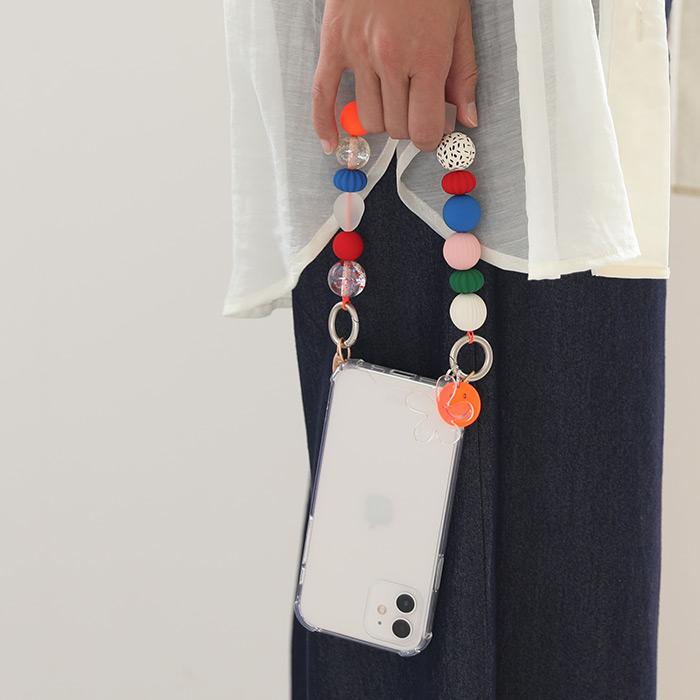 [iPhone 12/12 Pro/8/7/SE(第2世代)専用]ARNO アルノ Beads ストラップ付きクリア iPhoneケース(Colorful Smile)