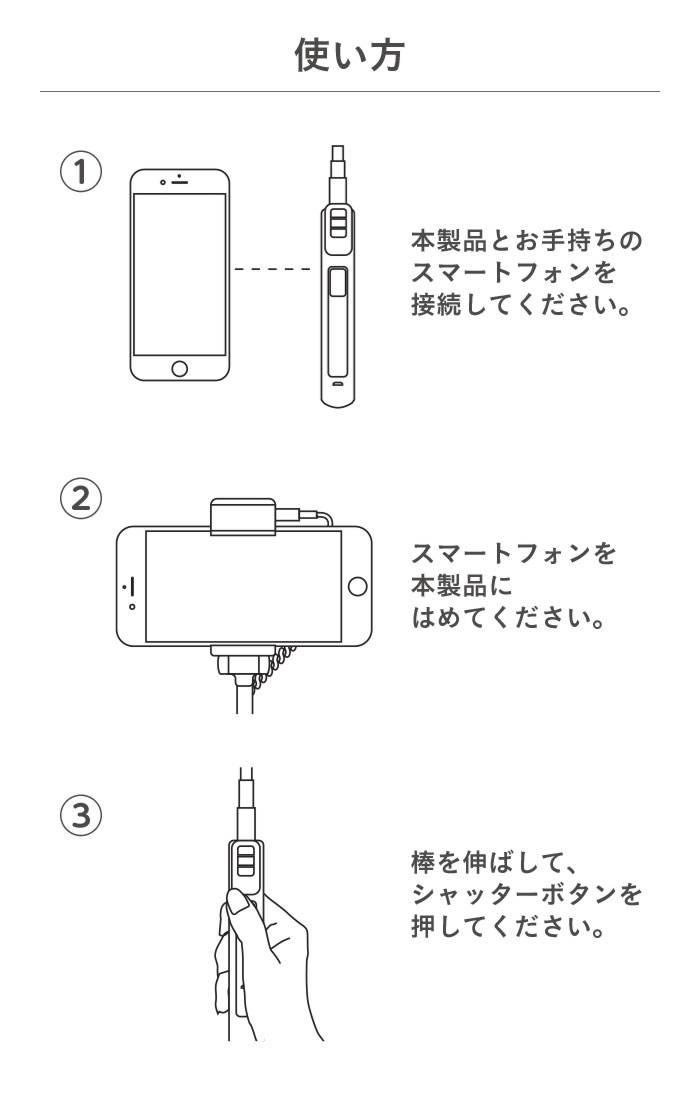 Bluetooth3.0 wireless SelfieStick with Light ライト付ワイヤレス自撮り棒