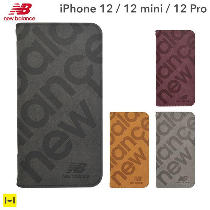 [iPhone 12/12 mini/12 Pro専用]New Balance/ニューバランス スエード手帳型 iPhoneケース スタンプロゴ