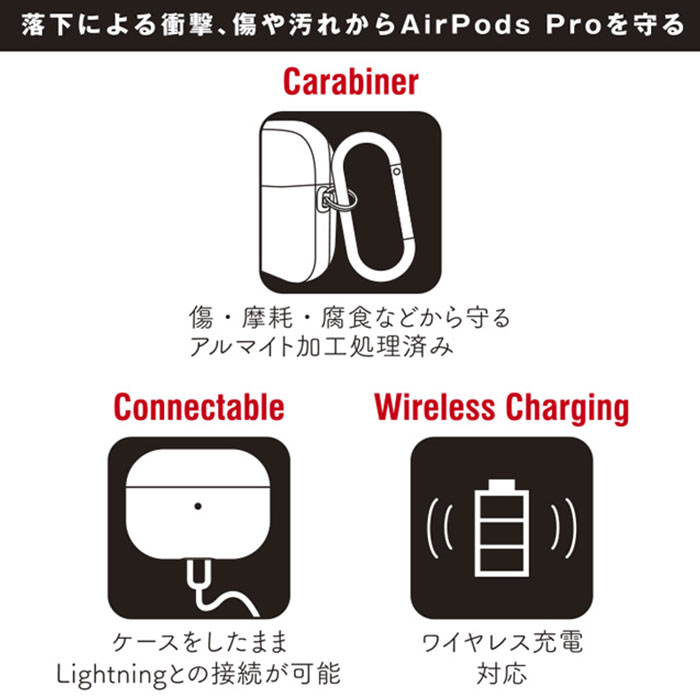 [AirPods Pro専用]MARVEL/マーベル カラビナ付きケース(ブラック)