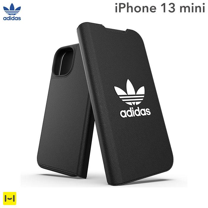[iPhone 13 mini専用]adidas アディダス Originals Booklet Case BASIC(Black/White)
