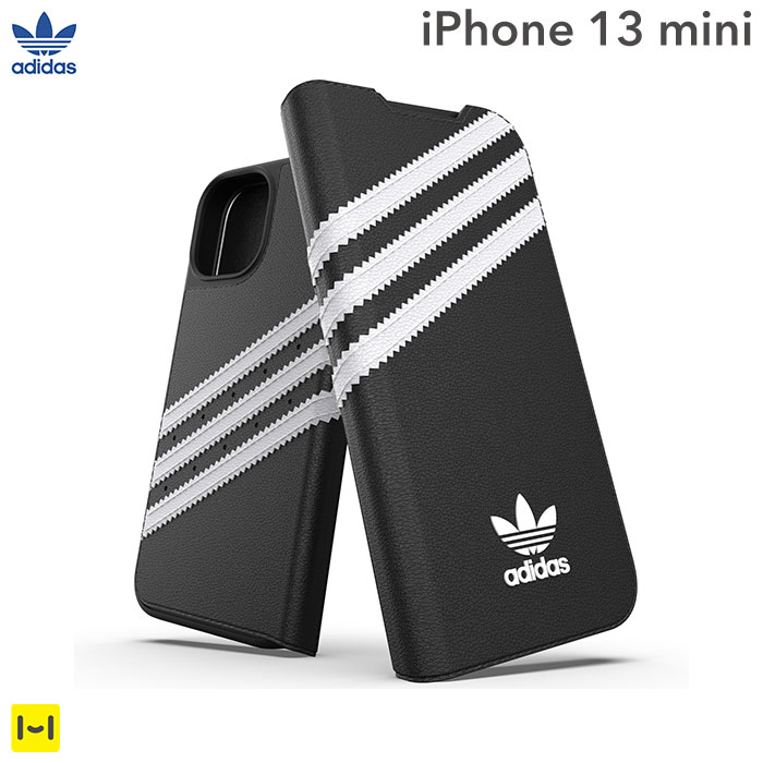 [iPhone 13 mini専用]adidas アディダス Originals Booklet Case SAMBA(Black/White)
