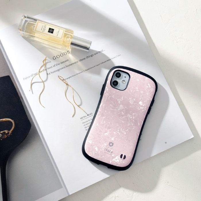 韓国 iPhoneケース 上品 光沢 シェル柄 パステルカラー きれい おしゃれ