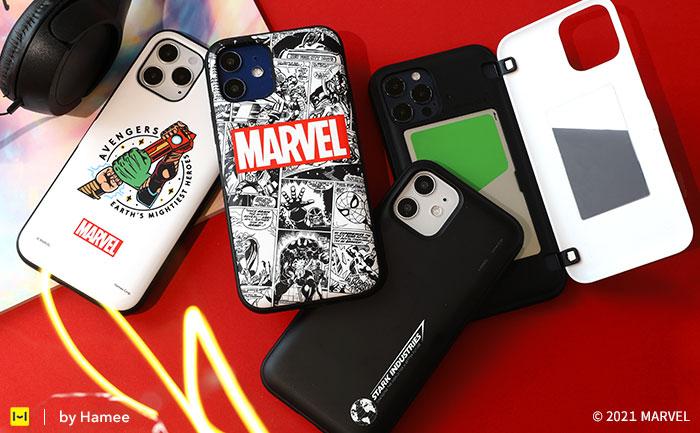 [iPhone 12/12 mini/12 Pro/11/XR/8/7/SE(第2世代)専用] MARVEL/マーベル Latootoo カード収納型 ミラー付きiPhoneケース